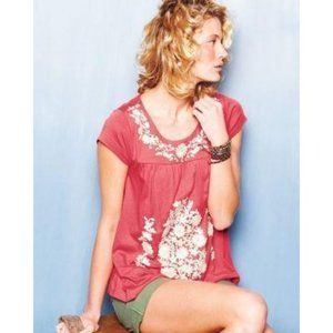 Garnet Hill Jalisco Embroidered Knit Top Coral